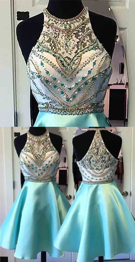 A-Line Round Neck Short Mint Green Satin Homecoming Dress with Beading