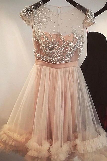 A-Line Jewel Short Champagne Tulle Homecoming Dress with Pearls