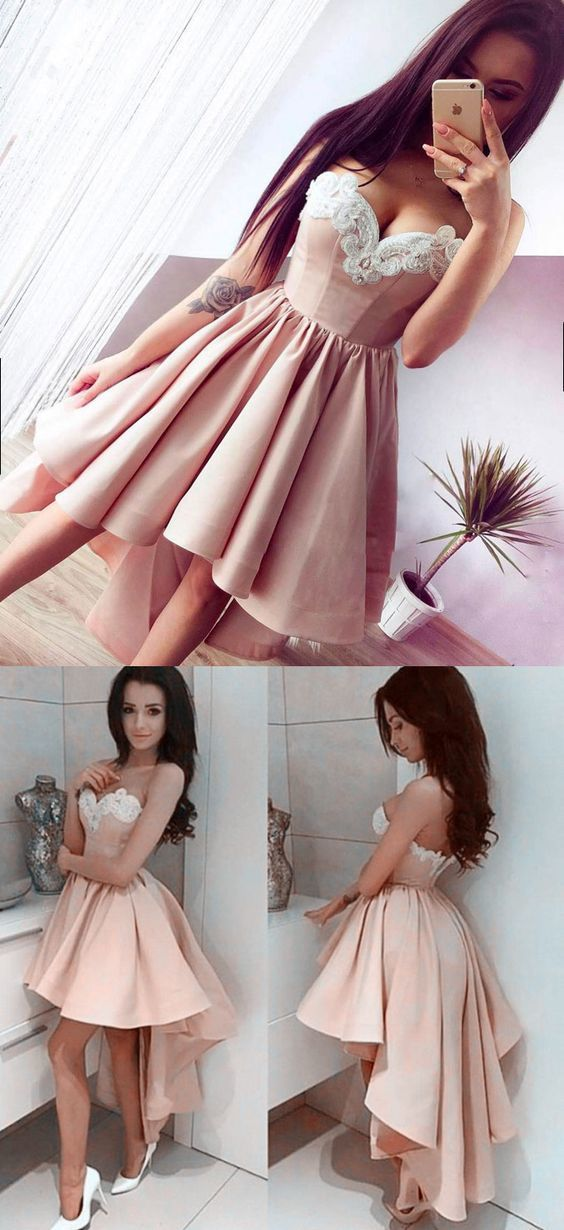 High Low Sweetheart Sleeveless Champagne Satin Homecoming Dress with Appliques
