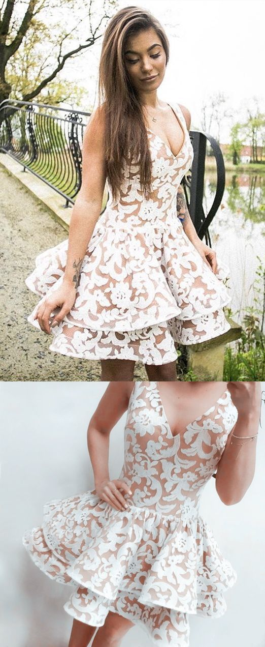 A-Line V-Neck Short Tiered Ivory Lace Homecoming Cocktail Dress