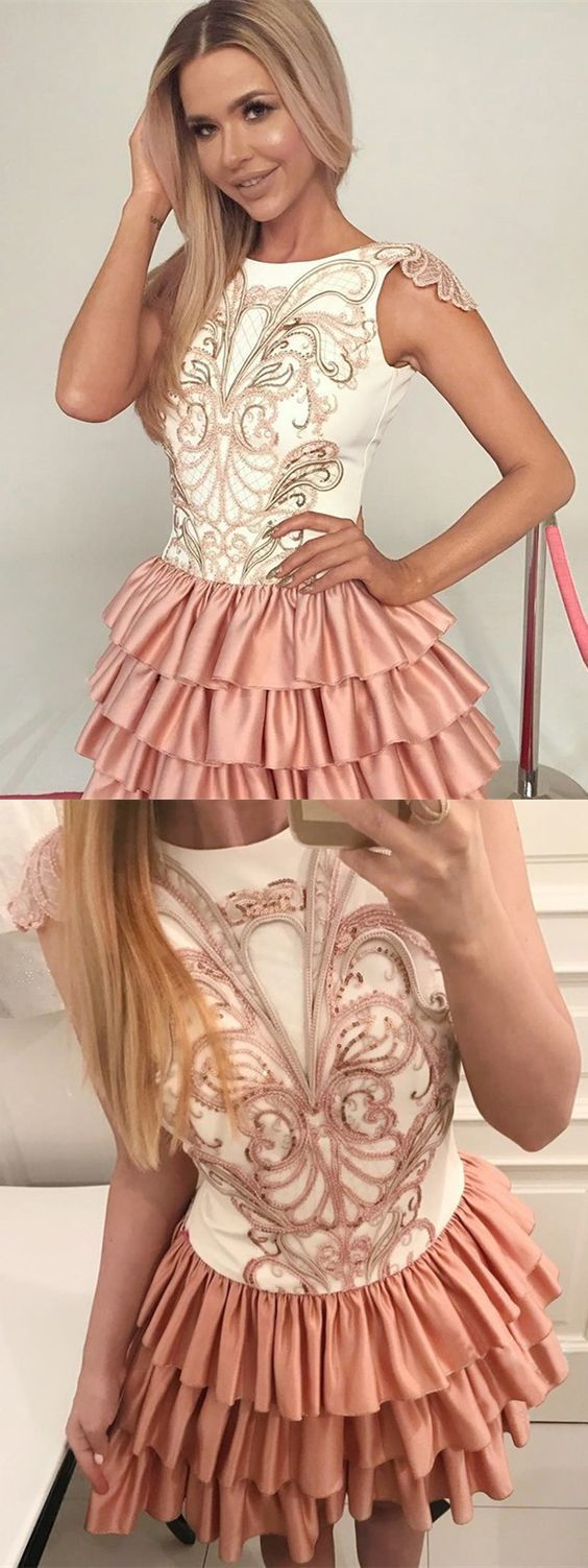 A-Line Bateau Cap Sleeves Short Tiered Champagne Satin Homecoming Dress with