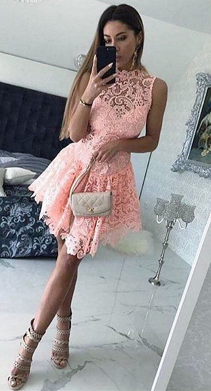 A-Line Scalloped-Edge Short Dropped Pink Lace Homecoming Cocktail Dress