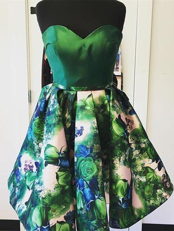 A-Line Sweetheart Sleeveless Short Dark Green Floral Homecoming Dress