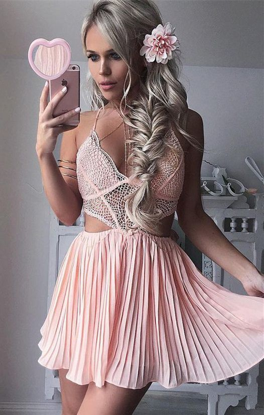 A-Line Dress,Halter Dresses,Short Homecoming Dresses,Pink Homecoming