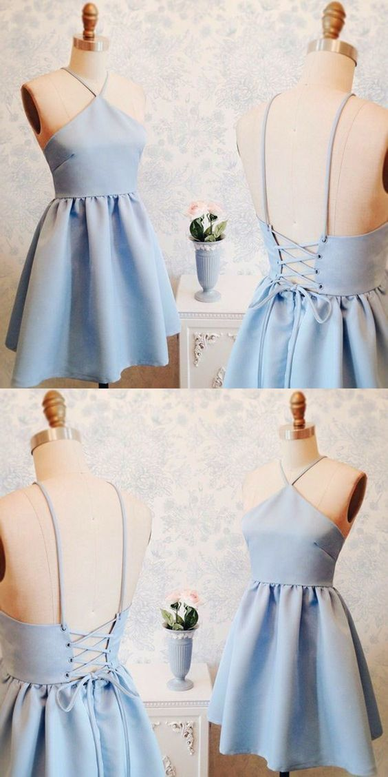 A-Line V-Neck Short Lace-up Blue Satin Homecoming Dress