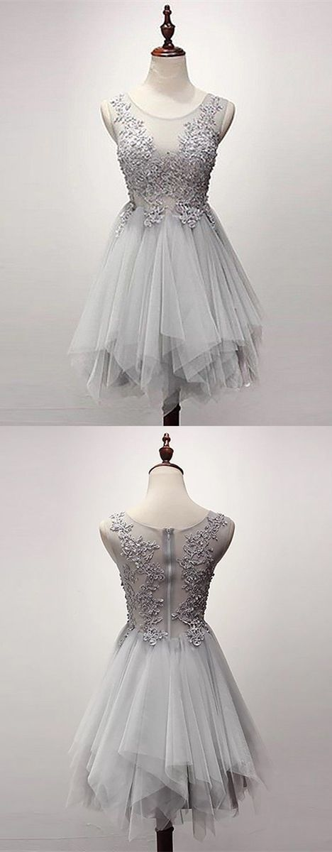 A-Line Scoop Asymmetrical Grey Tulle Homecoming Dress with Beading Appliques