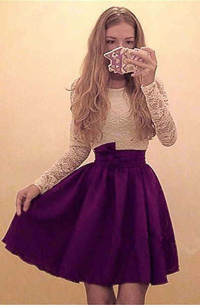 A-Line Round Neck Long Sleeves Purple Short Chiffon Homecoming Dress with Lace