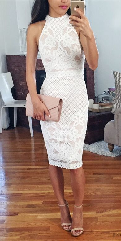 Bodycon Round Neck Knee-Length White Lace Homecoming Dress