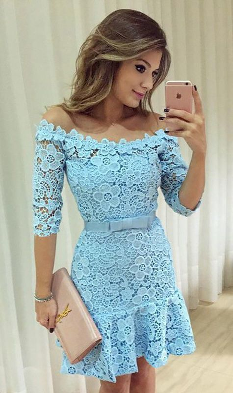 A-Line Off-the-Shoulder Half Sleeves Blue Lace Homecoming Dress with Bowknot