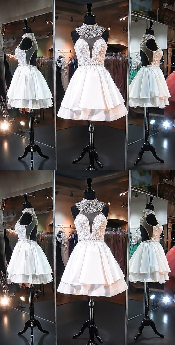 A-Line High Neck Short Ivory Open Back Homecoming Dress with Lace Beading