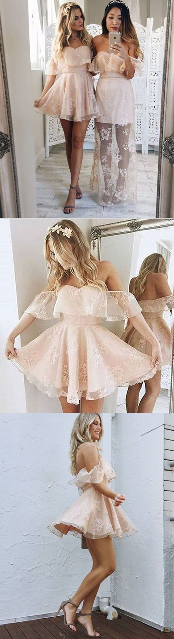 A-Line Off-the-Shoulder Short Pearl Pink Organza Homecoming Dress with Appliques