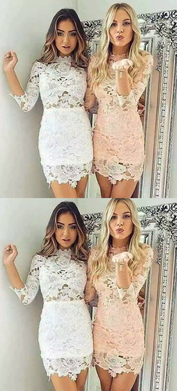 d429fb870a Tight Scalloped-Edge White Pearl Pink Short Lace Homecoming Dress with  Sleeves