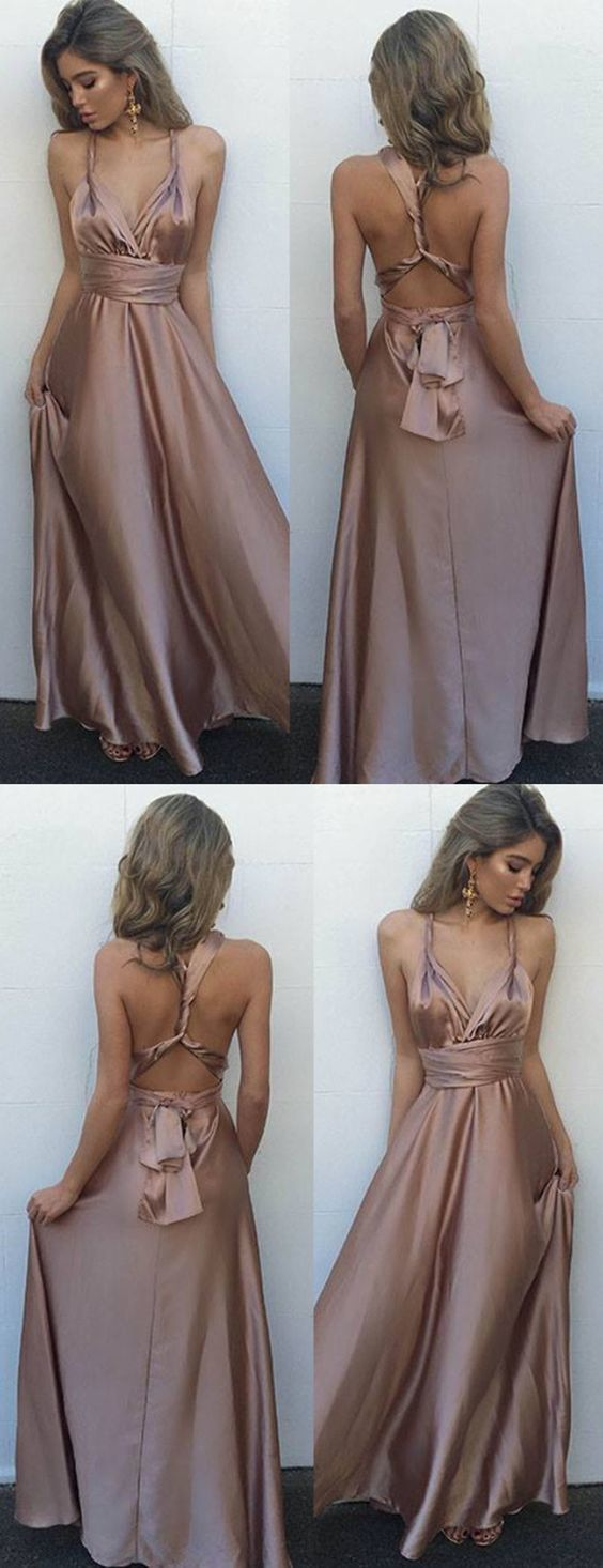 sexy long prom dresses,criss corss back party dress,blush dress,Multi-way Prom