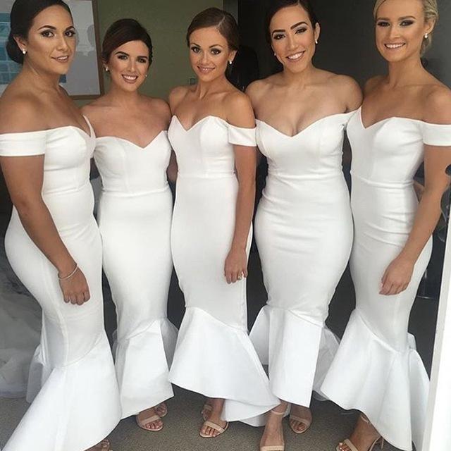 Off Shoulder Mermaid Evening Dress, Sexy Long Bridesmaid Dress