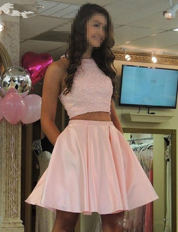 Two Piece Pearls Prom Dress, Short Homecoming Dress, Pink Prom Gowns