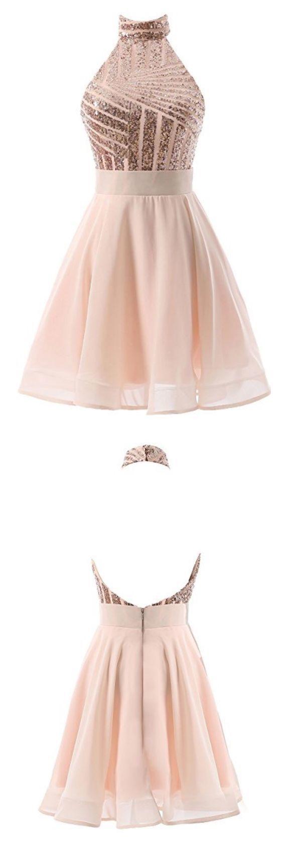 Backless Short Prom Dress, Sexy Halter Prom Dresses
