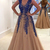 Tulle Evening Dress, Sexy V Neck Long Prom Dress with Beaded, Formal Prom