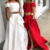 Sexy Long Prom Dress, White/Red Two Piece Prom Dresses, Long Evening Dress