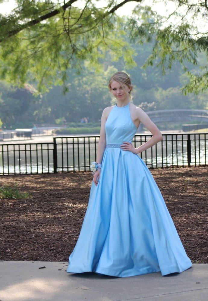 New Arrival Light Blue Evening Dress, Elegant A Line Prom Dress