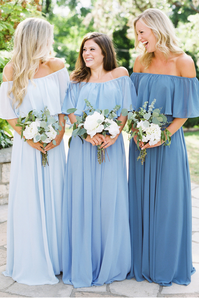 Off the Shoulder Long Bridesmaid Dress, Chiffon Bridesmaid Dress, Simple Design