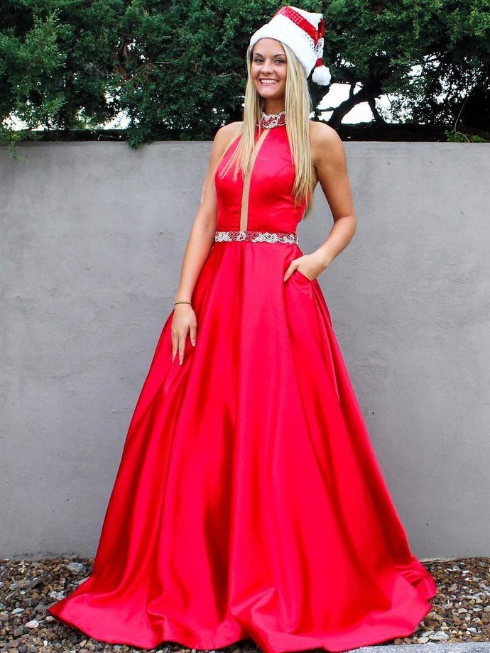 Sexy Red Prom Dress, Sleeveless Prom Dress, Long Prom Dresses, Homecoming Dress