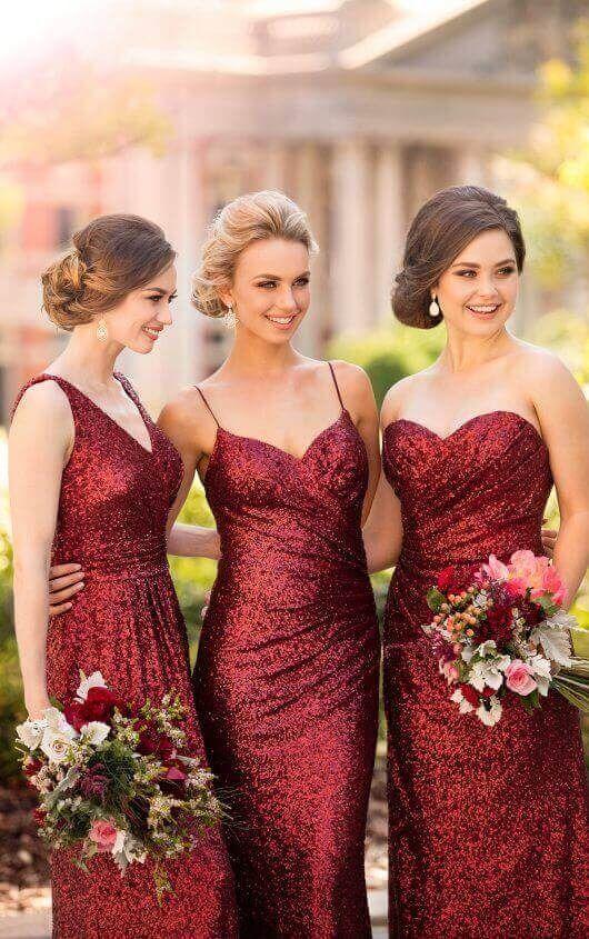 Floor Length Sequin Bridesmaid Dress, Burgundy Bridesmaid Dress, Charming