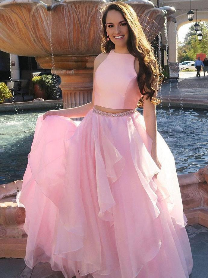 Two Piece Prom Dresses, Elegant Prom Dresses, Long Evening Dress, Pink