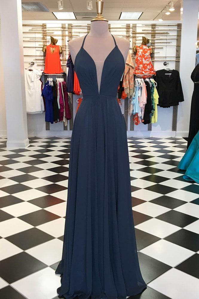 Sexy Simple Evening Dress, Sleeveless Chiffon Prom Dress, Long Prom Dresses