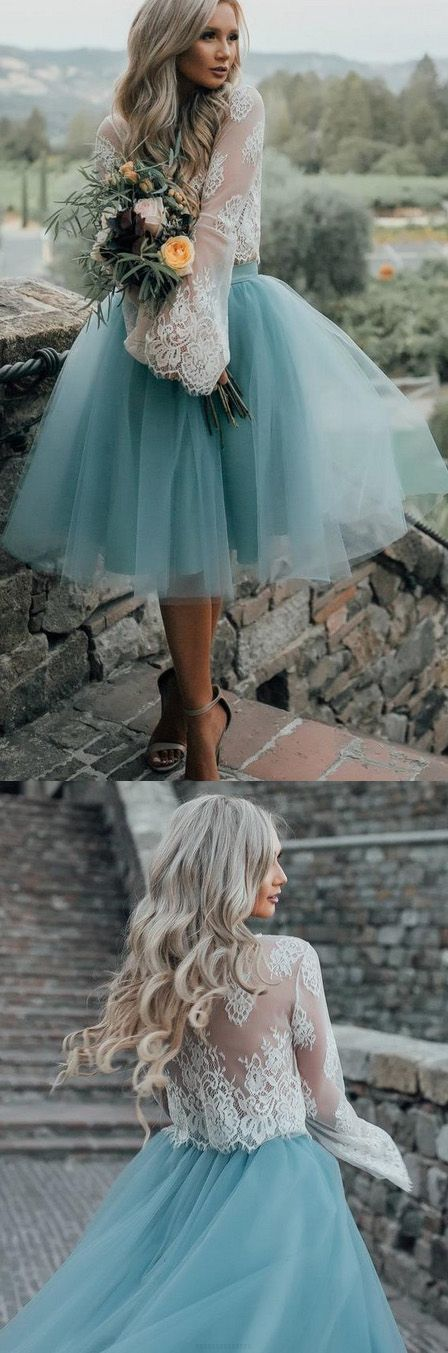 Tulle and Lace Two Pieces Blue Short Prom dress, Cocktail Homecoming Dress