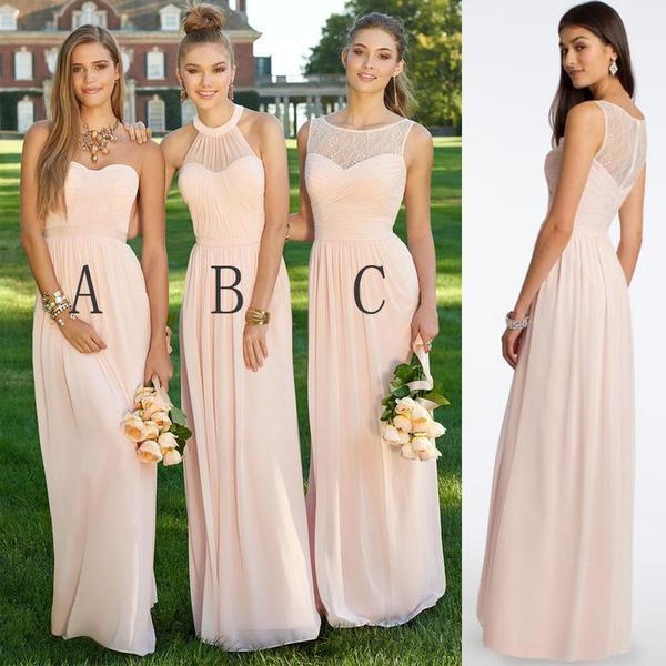 Bridesmaid Dresses Long Champagne Chiffon Include A Sweetheart B Halter C Bateau