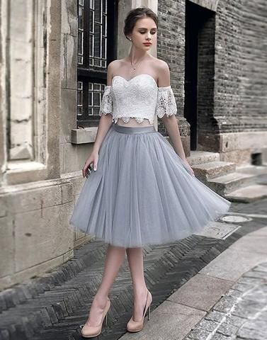 White lace tulle two pieces short prom dress, homecoming dress, off the shoulder