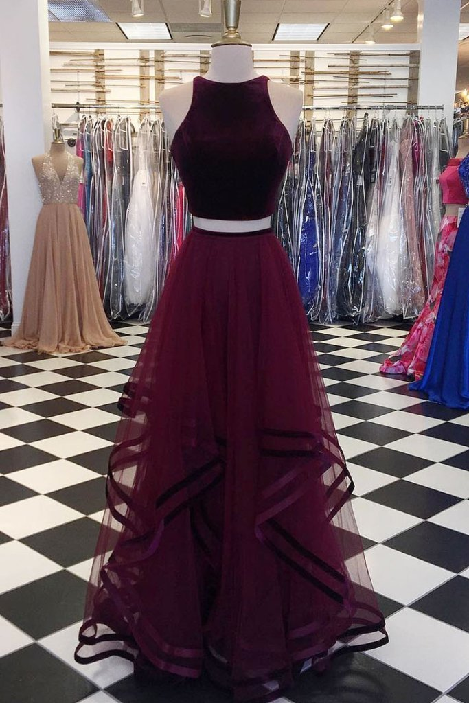 Charming Prom Dress, Sexy Two Piece Prom Dresses, Tulle Long Homecoming Dress,