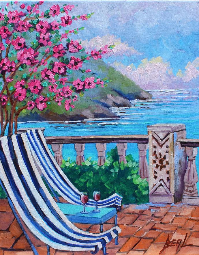 Original Oil Painting Santorini Greece Greek Isle Signed Wall Art on Canvas Wall