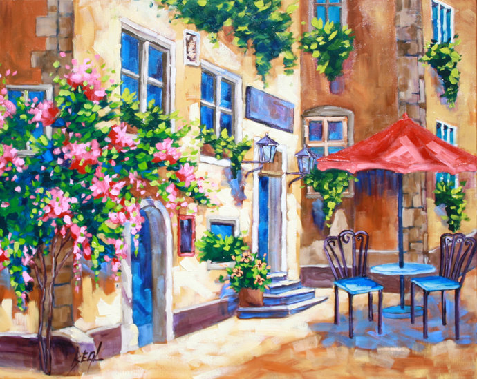 Signed Original Oil Painting Canvas Wall Art Landscape Art Flower Painting Cafe