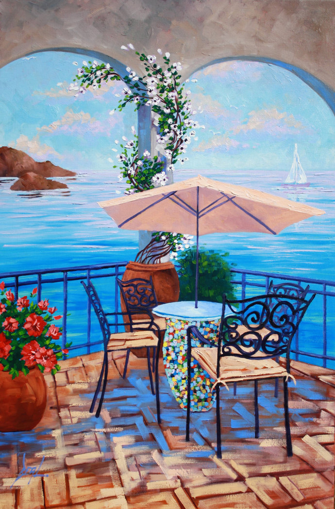 Art Original Oil Painting Landscape Painting on Canvas Dining by the Ocean