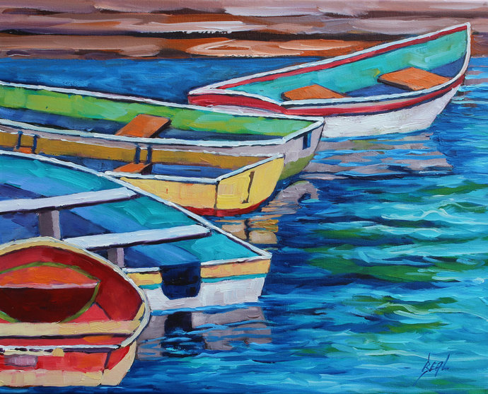 Ready to Row Original Boat Art Colorful wall art on Canvas by Rebecca Beal Row