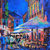 Evening Stroll Outdoor European Cafe Giclee canvas Print Colorful Cafe wall art