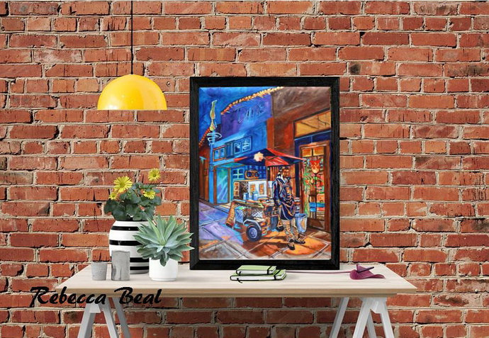 Chicago Hot Dog Vendor Giclee Canvas Print Night Colorful wall decor Rebecca