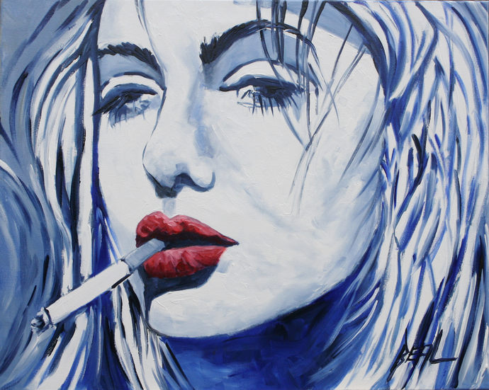 Giclee Canvas Print Blue Smoking Lady Original oil painting print Colorful lady