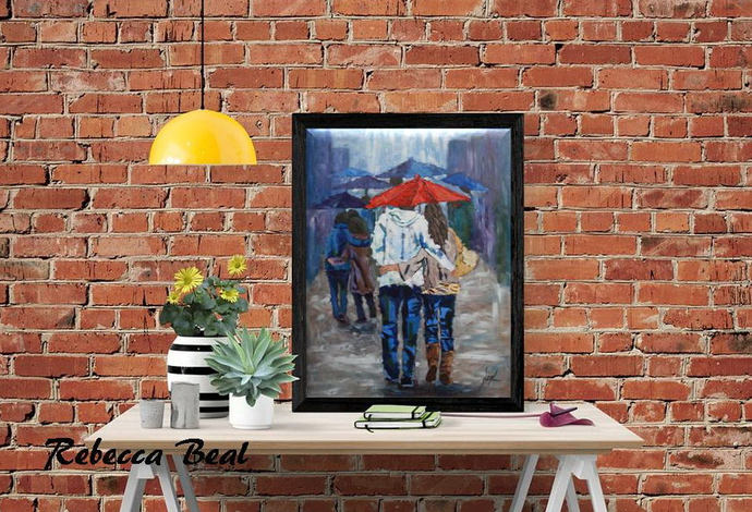 Lovers walking in the rain Giclee Canvas Print Colorful wall decor Rebecca Beal