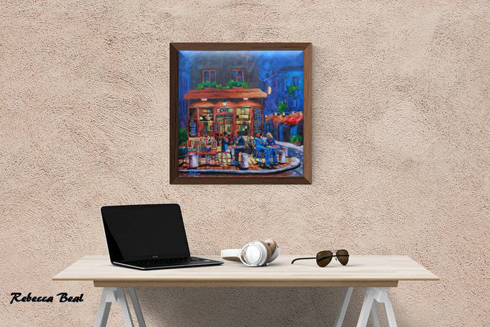 Evening Cafe, Giclee Canvas print wall Night art by Rebecca Beal