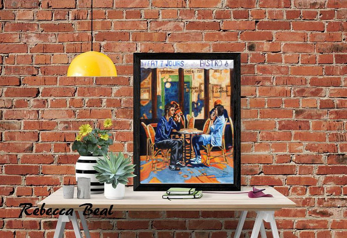 Night Cafe Giclee Canvas print wall art colorful art on canvas by Rebecca Beal