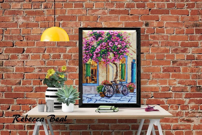 Giclee Canvas Print Flowers Cobblestones and a bike colorful wall decor Rebecca