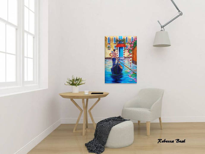 Giclee Canvas Print of Venice colorful Venice wall decor flower print romantic
