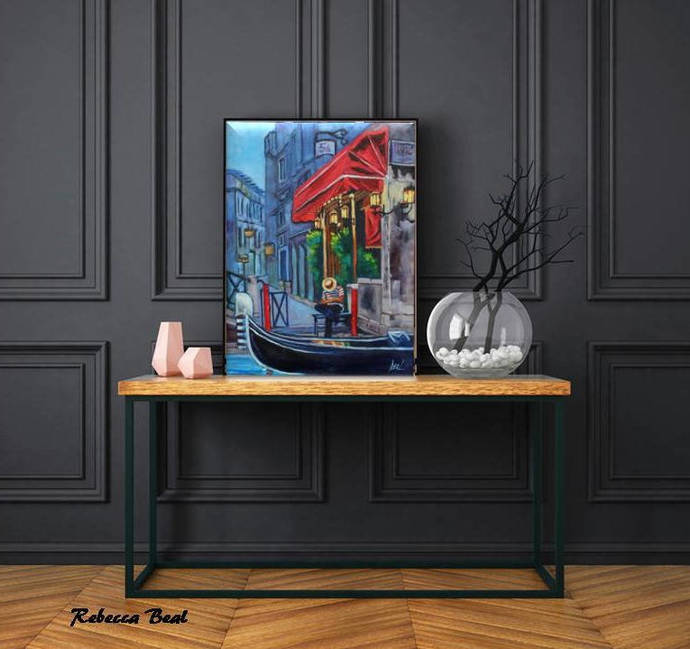 Working in Venice Giclee canvas print colorful wall art Rebecca Beal