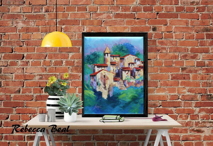 Tuscan village Giclee Canvas Print Original Oil Painting Colorful Landscape Wall