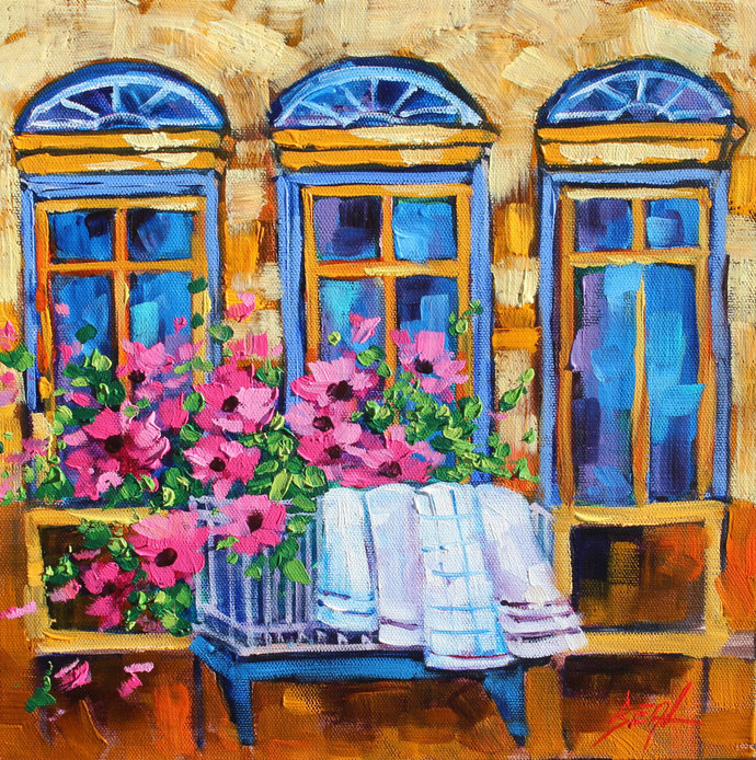 Original oil painting Signed Landscape Art Window wall decor Colorful Flower