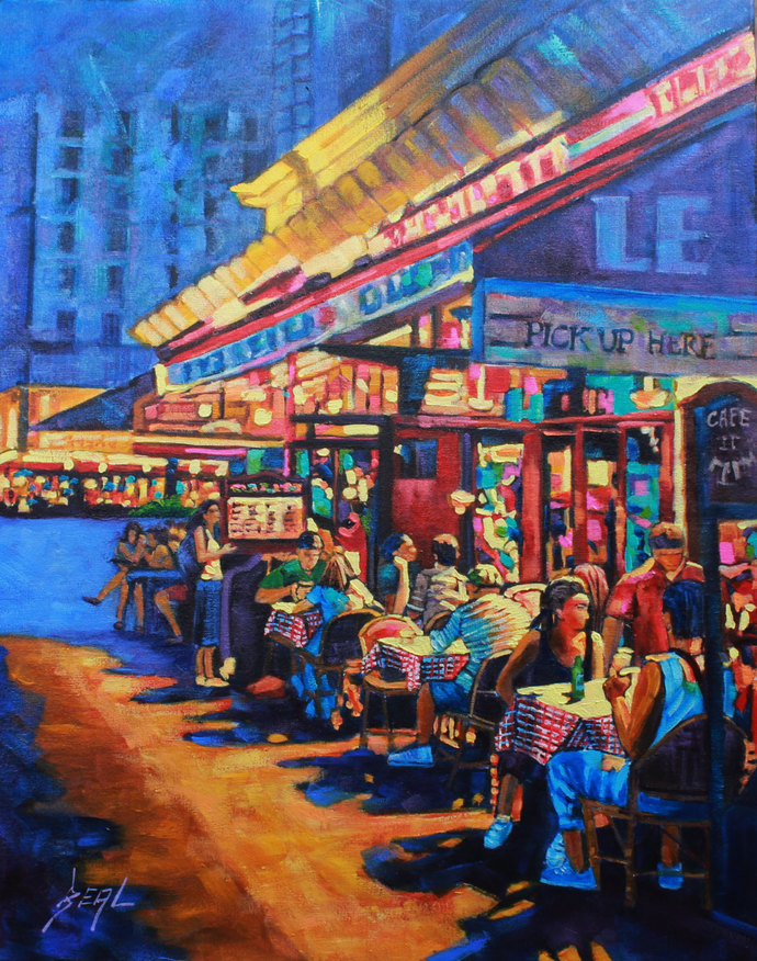Night painting Original signed Oil Painting canvas art Landscape People Food