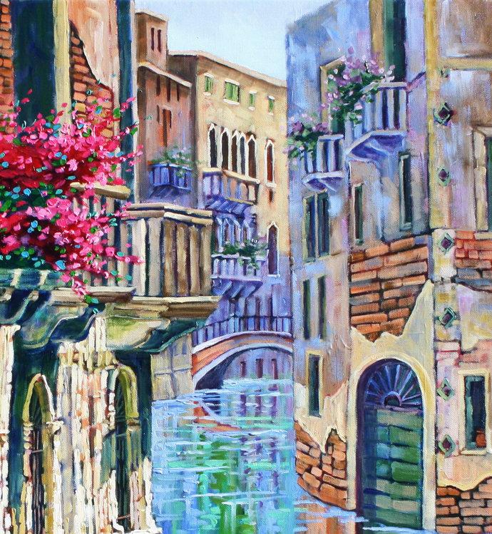 VENICE Art Original giclee canvas print Colorful Venice Landscape wall decor