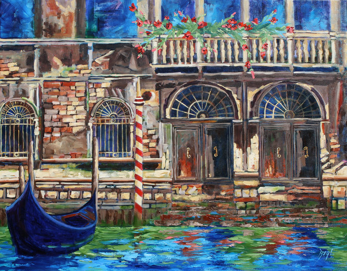 VENICE giclee Canvas Art print Original Colorful Venice wall art Landscape Art